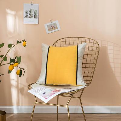 2019新款-麂皮绒抱枕(款式二) 45*45带芯 柠檬黄