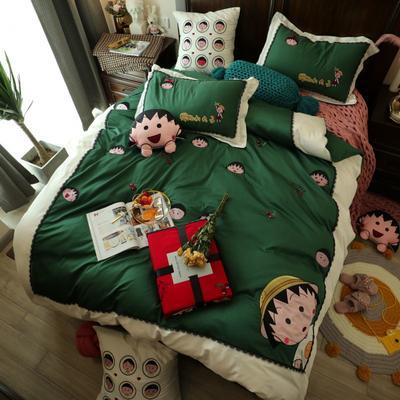 2019新款60贡缎长绒棉贴布刺绣四件套小丸子系列四件套 抱枕一个含芯 小丸子绿
