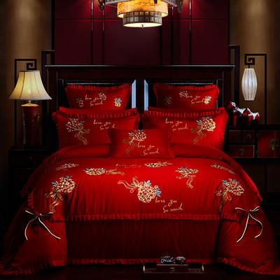 2019新款40s全棉133726刺绣婚庆多件套 1.5m-1.8m六件套(床单式) 幸福花开-大红