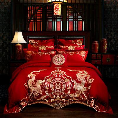 2019新款-40s全棉13376刺绣婚庆多件套 1.5m-1.8m九件套(床单式) 红妆之恋