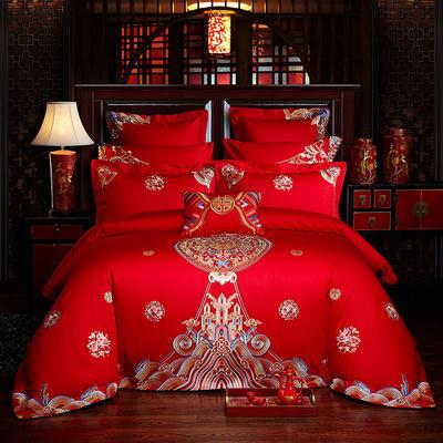 2019新款-40s全棉13376刺绣婚庆多件套 1.5m-1.8m四件套(床单式) 醉红妆
