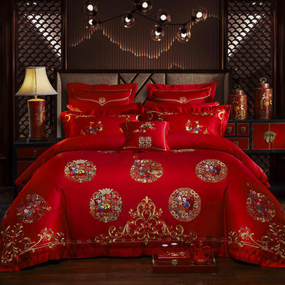 40s   13376婚庆多件套 1.5m-1.8m六件套(床单式) 多子多福