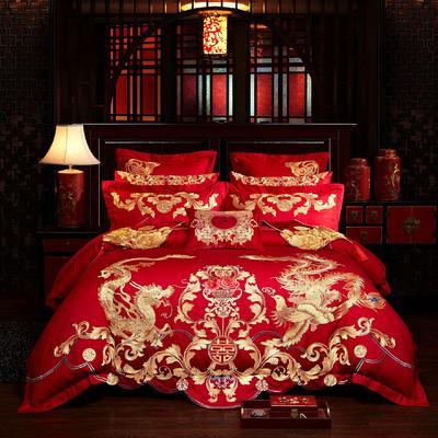 40s  13376婚庆多件套 1.5m-1.8m四件套(床单式) 龙凤嫁衣