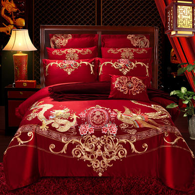 40s  13376婚庆多件套 1.5m-1.8m四件套(床单式) 龙颜凤姿
