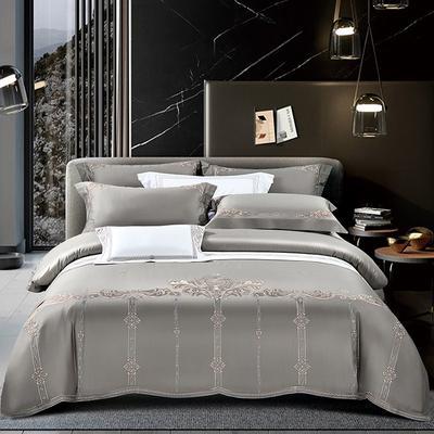2020新款60长绒棉刺绣四件套 1.8m床单款 菲拉格慕-爵士灰