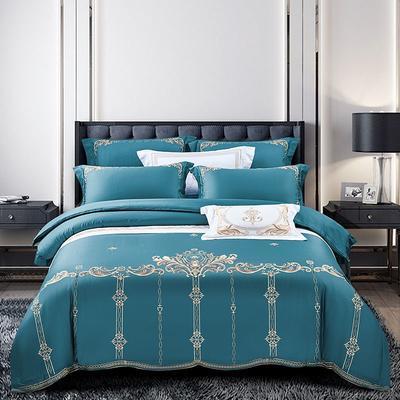 2020新款60长绒棉刺绣四件套 1.8m床单款 菲拉格慕-孔雀蓝