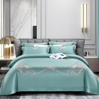 2020新款60长绒棉刺绣四件套 1.8m床单款 花香和婉-黛绿