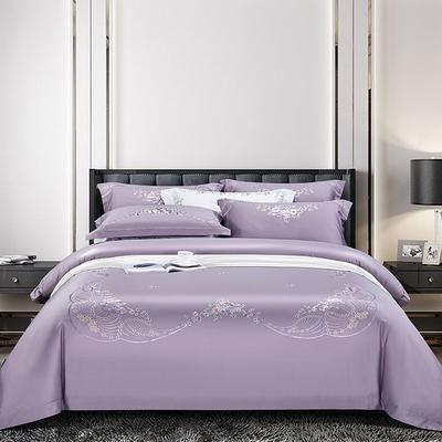 2020新款60长绒棉刺绣四件套 1.8m床单款 花香和婉-薰衣草紫