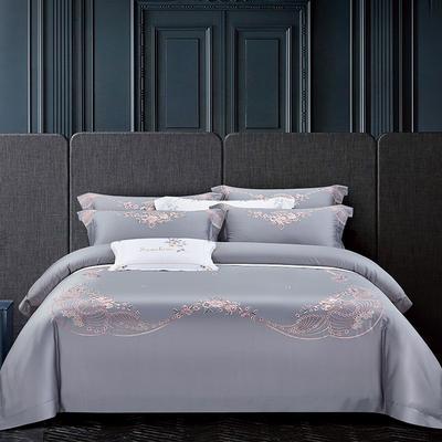 2020新款60长绒棉刺绣四件套 1.8m床单款 花香和婉-银灰