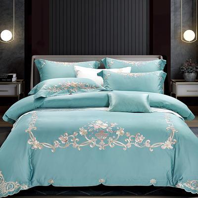 2020新款60S长绒棉 四件套 1.8m床单款 安娜贝尔-宝石蓝