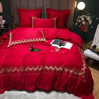 2020新款-纪梵希60S长绒棉四件套 床单款四件套1.8m(6英尺)床 大红