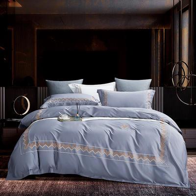 2020新款-纪梵希60S长绒棉四件套 床单款四件套1.8m(6英尺)床 灰蓝