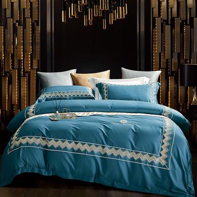 2020新款-纪梵希60S长绒棉四件套 床单款四件套1.8m(6英尺)床 孔雀蓝