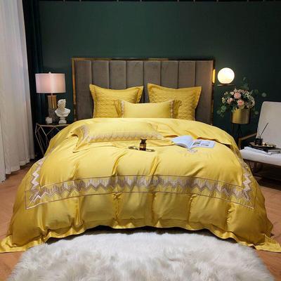 2020新款-纪梵希60S长绒棉四件套 床单款四件套1.8m(6英尺)床 气质黄