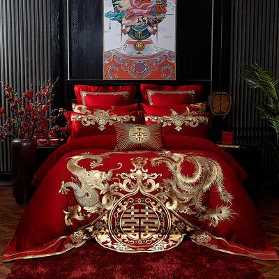 2020新款-60s 新中式刺绣婚庆套件 1.5m床-1.8m床六件套床单式 龙凤争艳