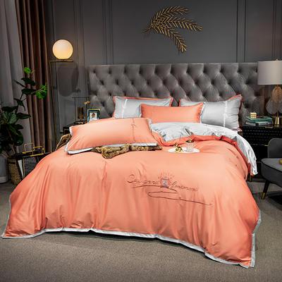 2020新款-40s全棉贡缎四件套 床单款四件套1.8m(6英尺)床 卡宴-爱马橙