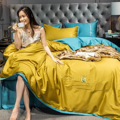 2020新款-40s全棉贡缎四件套 床单款四件套1.8m(6英尺)床 卡宴-姜黄