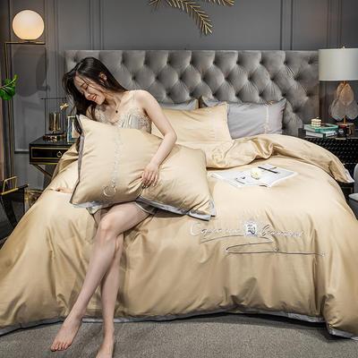 2020新款-40s全棉贡缎四件套 床单款四件套1.8m(6英尺)床 卡宴-卡其色