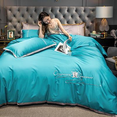 2020新款-40s全棉贡缎四件套 床单款四件套1.5m(5英尺)床 卡宴-孔雀蓝