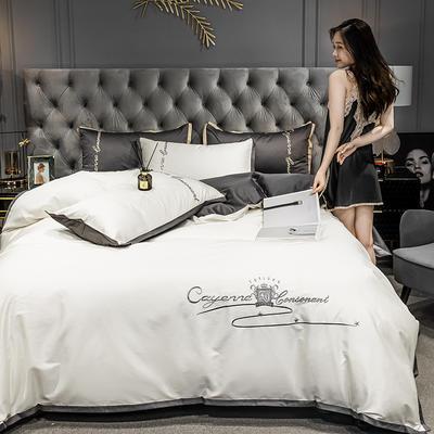 2020新款-40s全棉贡缎四件套 床单款四件套1.8m(6英尺)床 卡宴-米白