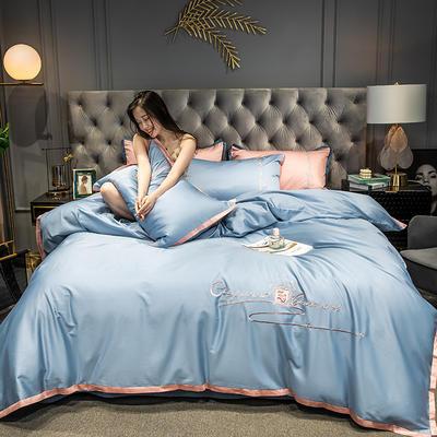 2020新款-40s全棉贡缎四件套 床单款四件套1.8m(6英尺)床 卡宴-星空蓝