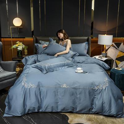 2020新款-40S全棉贡缎四件套-爱丽丝 床单款四件套1.5m(5英尺)床 40爱丽丝-宾利蓝