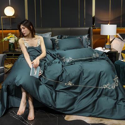 2020新款-40S全棉贡缎四件套-爱丽丝 床单款四件套1.8m(6英尺)床 40爱丽丝-墨蓝
