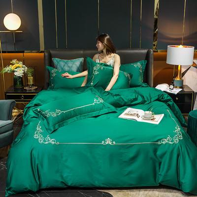 2020新款-40S全棉贡缎四件套-爱丽丝 床单款四件套1.8m(6英尺)床 40爱丽丝-墨绿
