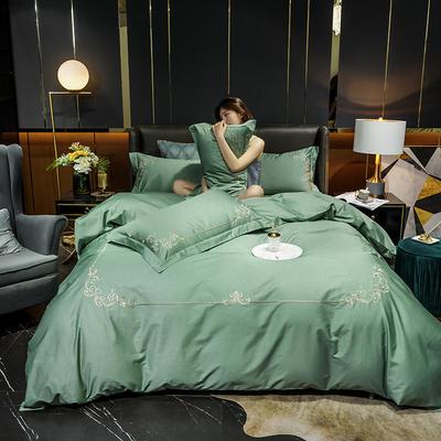 2020新款-40S全棉贡缎四件套-爱丽丝 床单款四件套1.8m(6英尺)床 40爱丽丝-松石绿