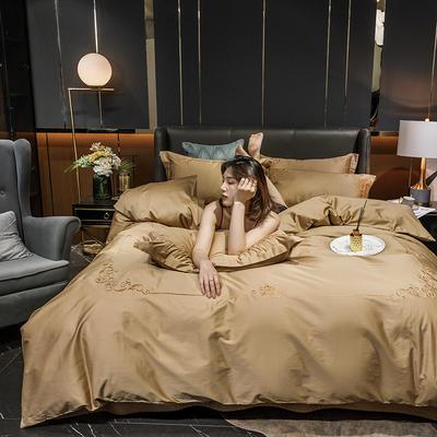 2020新款-40S全棉贡缎四件套-爱丽丝 床单款四件套1.5m(5英尺)床 40爱丽丝-香槟金