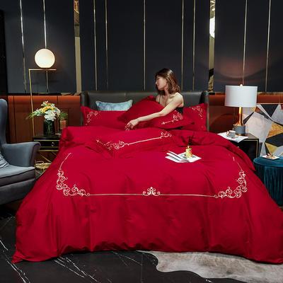 2020新款-40S全棉贡缎四件套-爱丽丝 床单款四件套1.8m(6英尺)床 40爱丽丝-胭脂红