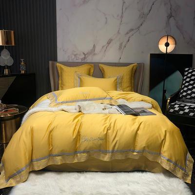 2020新款-60S长绒棉莉亚时尚四件套 1.8m床单款四件套 气质黄