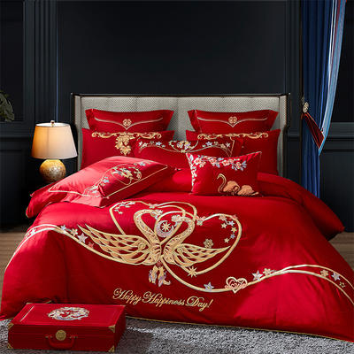 2020新款-40s新中式婚庆多件套 1.5m床-1.8m床四件套床单式 爱意正浓