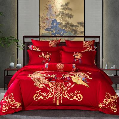 2020新款-40s新中式婚庆多件套 1.5m床-1.8m床四件套床单式 相爱一生