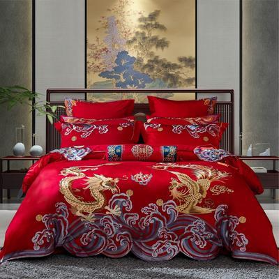 2020新款-40s新中式婚庆多件套 1.5m床-1.8m床四件套床单式 凤求凰