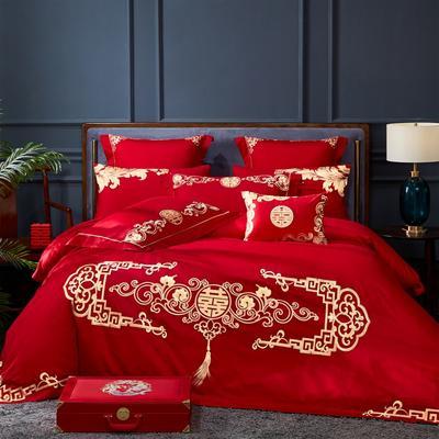 2020新款-40s新中式婚庆多件套 1.5m床-1.8m床六件套床单式 真我风采
