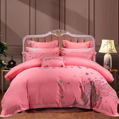 2020新款-40s新中式婚庆多件套 1.5m床-1.8m床六件套床单式 花开锦绣-粉