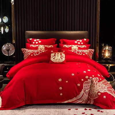 2020新款-40s新中式婚庆多件套 1.5m床-1.8m床四件套床单式 花开锦绣红