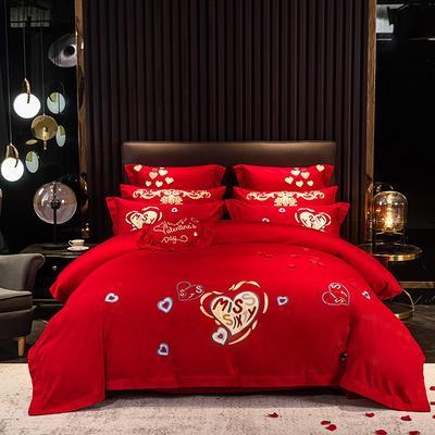 2020新款-40s新中式婚庆多件套 1.5m床-1.8m床六件套床单式 时尚爱心