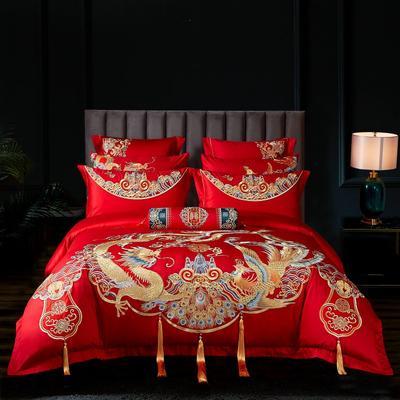 2020新款-60s 新中式刺绣婚庆套件 1.5m床-1.8m床六件套床单式 万福喜宴