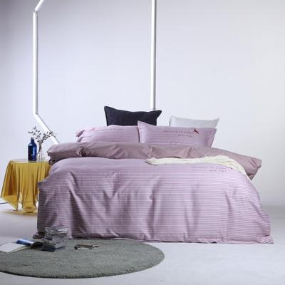 2019新款60长绒棉简约北欧肌理纹四件套 1.8m(6英尺)床 时光静好-粉