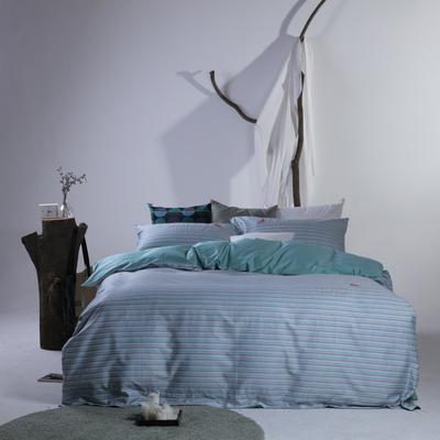 2019新款60长绒棉简约北欧肌理纹四件套 1.8m(6英尺)床 时光静好-绿