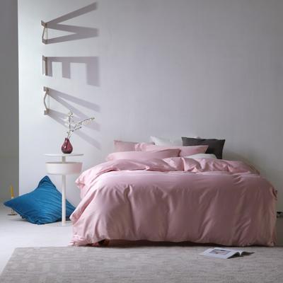 2019新款60S长绒棉纯色四件套 1.8m(6英尺)床 粉豆沙