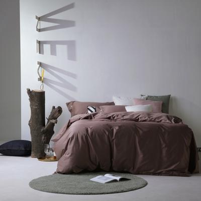 2019新款60S长绒棉纯色四件套 1.8m(6英尺)床 浅咖
