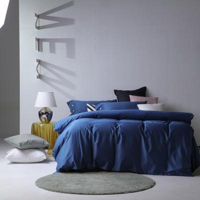 2019新款60S长绒棉纯色四件套 1.8m(6英尺)床 湛蓝