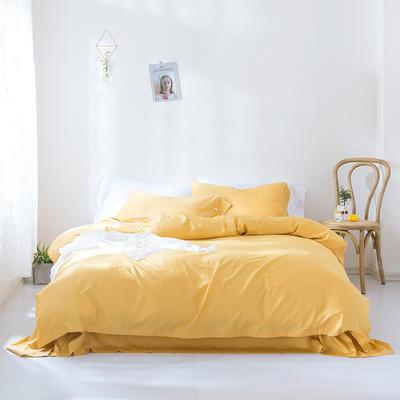 2019新款60S长绒棉纯色四件套 2.0m(6.6英尺)床 柠檬黄
