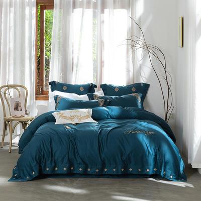 2019新款60S绣花四件套西西里系列 1.8m(6英尺)床 深蓝