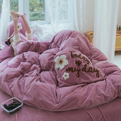 2019新款水晶绒四件套 1.5m床单款 花季有约 梦幻粉