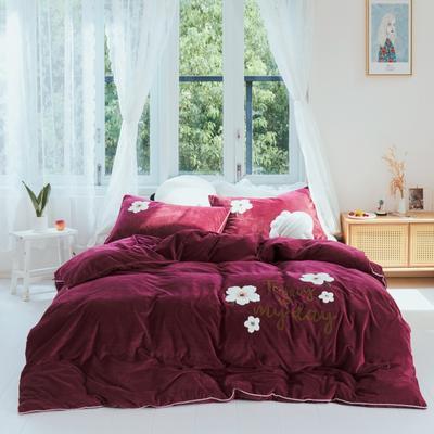 2019新款水晶绒四件套 1.8m床单款 花季有约 胭脂红