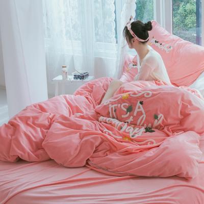 2019新款水晶绒四件套 1.5m床单款 欢乐颂 公主粉